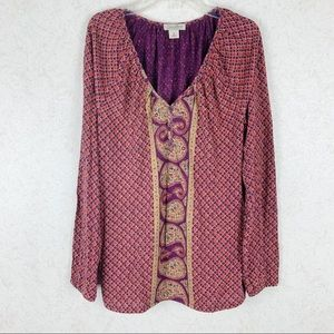 Lucky Brand Live in Love paisley floral boho top